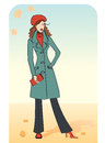 Nice woman warm coat vector illustartion Royalty Free Stock Image