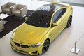 Nice yellow BMW electric car Royalty Free Stock Photo