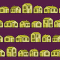 Nice yellow Houses set with purple background. Vector seamless pattern. Royalty Free Stock Photo