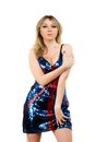 Nice young blonde wearing a dress with picture of the flag of great britain Royalty Free Stock Images