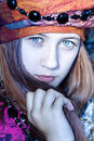 Nice young girl in a turban Royalty Free Stock Image