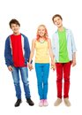 Nice young teens boys and girl hold hands Royalty Free Stock Photo