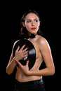 Nice young woman topless with vinyl Royalty Free Stock Photo