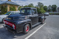 Nicely restored ford f pickup classic american car the photo is shot at the fish market in halden norway Stock Images