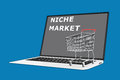 Niche market concept render illustration of with a supermarket cart placed on the keyboard Royalty Free Stock Photos