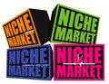 Niche market d boxes an illustration of different colored image isolated on white background Stock Photography