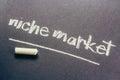 Niche market handwriting on chalkboard Royalty Free Stock Image