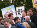 Nick griffin mep mingles with his bnp supporters at a rally in london st june Royalty Free Stock Photos