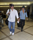 Nick Lachey with girlfriend Vanessa Manillo at LAX Stock Photography
