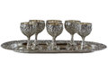 Nickel silver glasses set on a tray Stock Images
