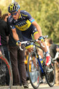 Nicki sorensen of saxo bank tinkoff team during the tour catalonia cycling race through the streets monjuich mountain in Royalty Free Stock Photography