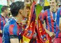 Nicolae stanciu of steaua bucharest kisses the trophy after romanian supercup between bucharesta and petrolul ploiesti Stock Photography