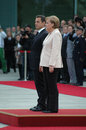 Nicolas Sarkozy, Angela Merkel Royalty Free Stock Photo