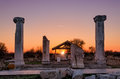 Nicopolis ad istrum sunset over the ruins of the ancient town nikopolis Stock Image