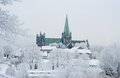 Nidaros cathedral the nidarosdomen on a cold winter day trondheim norway Stock Images