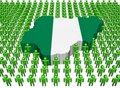 Nigeria map flag surrounded by many peopl Stock Photography