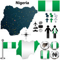 Nigeria map with regions vector of flag coat of arms and other icons on white Royalty Free Stock Photos