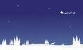 At nigh santa sleigh of silhouette Chrismas Royalty Free Stock Photo