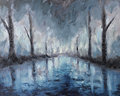 Night abstract landscape oil painting, reflection of trees in water