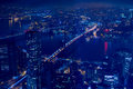 Night Aerial View of New York City and the East-River Bridges Royalty Free Stock Photo