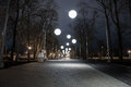 Night alley with bubble lights Royalty Free Stock Photo