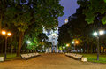 Night alley in Nikolsky garden and St. Nicholas Naval Cathedral Royalty Free Stock Photo