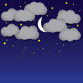 Night background white paper clouds night sky moon stars the graphic illustration consists of dark blue and grey Royalty Free Stock Images