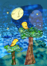 Night birds illustration of two atop their trees under the sleeping moon and dreamy stars Stock Photos