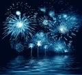 Night blue firework. Illustration Stock Photos