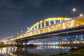 Night bridge city scene with illuminated over river in taipei taiwan asia the was named macarthur no Stock Image