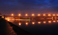 Night bridge over elbe at roudnice nad labem at Stock Photography