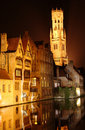 Night Bruges Stock Photography