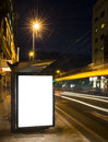 Night bus station with blank billboard Royalty Free Stock Photo