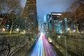 Night cars traffic in big city, long exposure Royalty Free Stock Photo