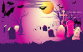 Night at the cemeter halloween illustration shows view of cemetery in a cartoon style symbolic background presented to holiday on Royalty Free Stock Images
