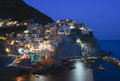 Night cinque terre manarola italy village Royalty Free Stock Photos
