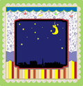 Night in the city background vector art Royalty Free Stock Photography