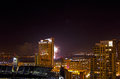 Night City Buildings With Fireworks Royalty Free Stock Photography
