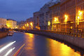 Night city canals of st petersburg russia Royalty Free Stock Images