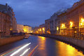 Night city canals of st petersburg taken during the white nights Royalty Free Stock Photography