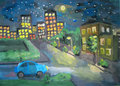 Night city at child art Royalty Free Stock Image