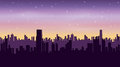 Night city at dawn. Seamless panoramic background. Royalty Free Stock Photo