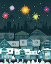 Night city and fireworks vector illustration of Royalty Free Stock Photos