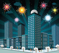 Night city and fireworks vector illustration of in the celebration of new year Stock Photography