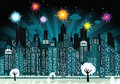 Night city and fireworks vector illustration of in the celebration of new year Stock Images