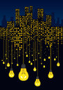Night city and glowing light bulbs hanging on wires. Energy saving concept