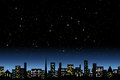 Night city light landscape undo starlit sky Royalty Free Stock Photography