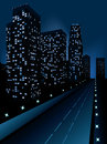 Night city modern illustration at time background Stock Photo