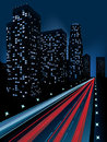 Night city modern illustration at time background Stock Photos