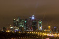 Night city moscow at night business center Stock Photo